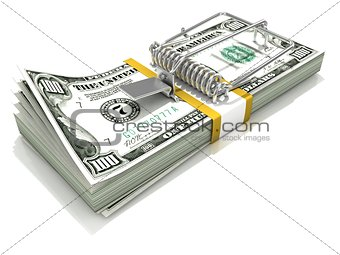3D render mousetrap installed on dollar banknote stack