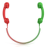Red and green old fashioned telephone handset