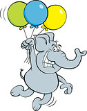 Cartoon Elephant Holding Balloons