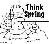 Cartoon Man Buried in Snow Holding a Think Spring Sign