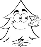 Cartoon Pine Tree with a Bird on Its Branch