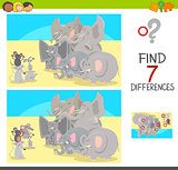 find differences game with animal characters