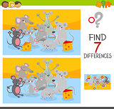 find differences game with mice animal characters