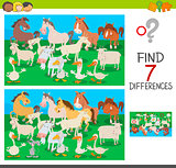 find differences game with farm animal characters