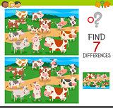 find differences game with cows animal characters