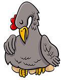 hen on eggs animal character cartoon illustration