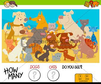 counting cartoon cats and dogs educational game
