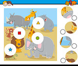 match pieces puzzle with animal characters