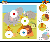 match pieces puzzle with safari animals