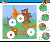 match pieces puzzle with wild animal characters