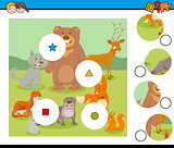 match pieces puzzle with funny wild animals