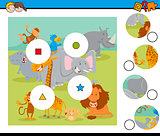 match pieces puzzle with safari wild animals