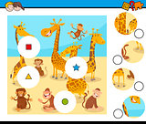 match pieces puzzle with monkeys and giraffes