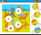 match pieces puzzle with wild animals group