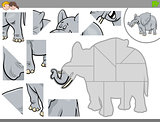 jigsaw puzzle game with elephant animal