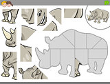 jigsaw puzzle game with rhinoceros animal