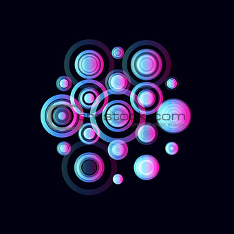 Colorful circles, pulsating audio speakers. Colored musical radio logo template. Music fest logotype, vector illustration on black background.