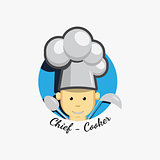 Flat icon logo of smiling chief cook