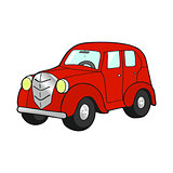 Retro car red on white background