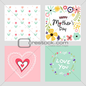 Happy mothers day template cards set