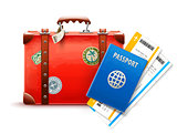 Retro suitcase, passport and airline tickets