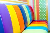 Multi color sofa bed.