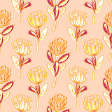 Orange protea flower seamless vector pattern.