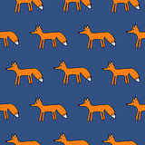 Cute fox seamless simple vector pattern.