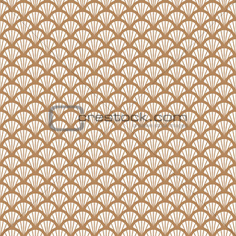Art deco gold and white fish scale geometric style pattern.
