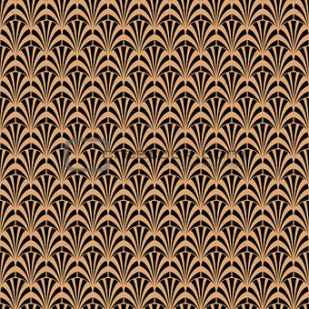 Art deco black and gold geometric style pattern.