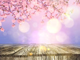 3D old wooden table with a cherry blossom background