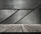 3D wooden table looking out to abstract metal wall