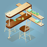 Set of the isometric cartoon counter and chairs.