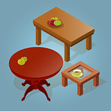 Set of the isometric cartoon table.