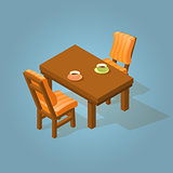 Set of the isometric cartoon table and two chairs.