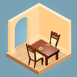 Isometric cartoon table and chairs.