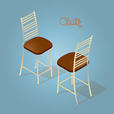 Isometric cartoon chair icon isolated on blue.