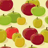 Red and green apple seamless pattern. Vector illustration.