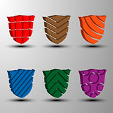 Set of 3d colored shields.