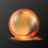 3d orange vector sphere.