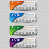 The vector set of colored transparent banners with different symbol