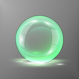 3d green sphere.Vector illustration of transparent clear shiny ball