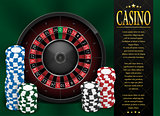 Casino Gambling poster or flyer design. Casino banner template with Roulette Wheel isolated on green background. Playing casino games. Vector illustration.