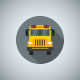 Flat color school bus icon. For printing, web and applications. Vector illustration