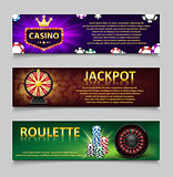 Gambling banners with Roulette Wheel and Casino Chips, lottery machine, gold fortune wheel set. Casino jackpot banner with casino games, fortune and lottery. Vector illustration