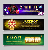 Gambling banners with Roulette Wheel and Casino Chips, lottery machine, gold fortune wheel set. Casino jackpot banner with Playing casino games. money, fortune and lottery. vector illustration