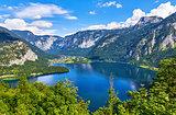 Hallstatt Austria top view to lake Hallstattersee