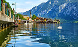 Hallstatt Austria lake Hallstattersee with quiet blue