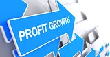 Profit Growth - Label on the Blue Cursor. 3D.