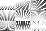 Collection of abstract striped backgrounds. Black and white patterns